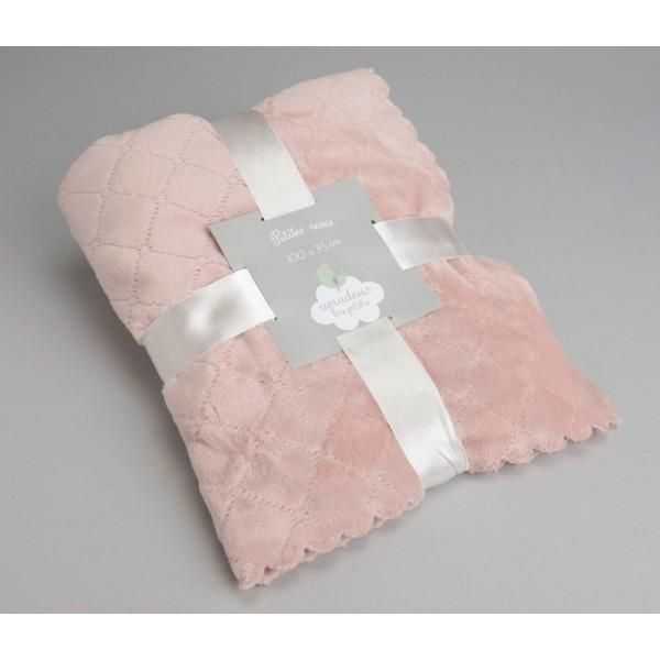 Manta infantil delicada rosa 100x75 cm