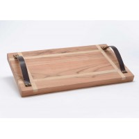 Tabla presentación mesa madera maciza acacia y asas de cuero 45x25xh3cm