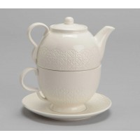Tea for one con plato porcelana beige encaje Adelie 370ml