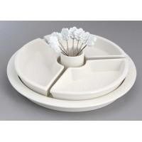 Bandeja fuente aperitivos porcelana con 3 boles y 8 pinchos 21xh6cm