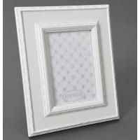 Marco fotos madera blanca borde con relieve 13x18cm