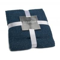 Manta plaid algodón Lurex azul 130x170cm