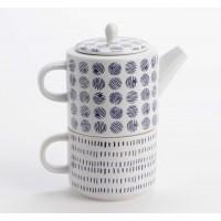 Tea for one porcelana blanca y azul en estuche regalo 320ml