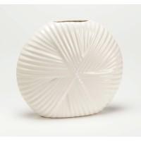 Jarrón cerámico blanco redondo con relieve 20xh18cm