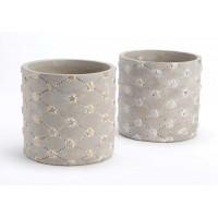 Maceta cemento mini con estrellas plata o doradas 13x12cm