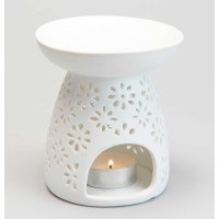 Quemador porcelana blanco para aceites esenciales Flores 10x12 cm