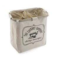 Cesto cubo doble para ropa beige The Laundry Company 50x30xh52cm