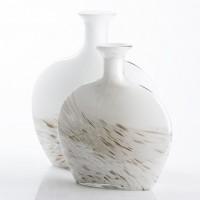 Jarrón florero cristal blanco y biege con detalles dorados 25,5x30cm