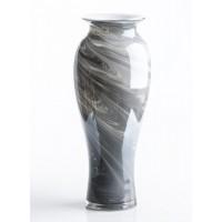 Jarrón florero cristal efecto marmol marrón 16x40cm