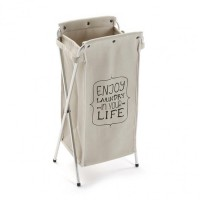 Cesto cubo para ropa beige Enjoy Laundry 31x24xh68cm