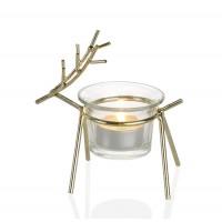 Tealight navideño ciervo dorado 11,5x6,4x12cm