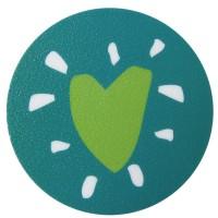 Pegatina bañera anti-deslizante círculo azul con corazón verde 10x10cm