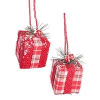 Adorno árbol de Navidad paquete regalo cuadros escoceses rojos