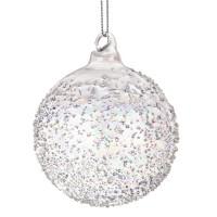 Bola árbol de Navidad cristal relieve Glamour 8cm