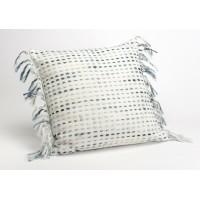 Cojín algodón con relleno bordado rayas azul y flecos 40x40 cm