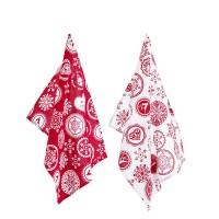 Set 2 paños navideños estampados copos de nieve blancos y rojos 50x70cm