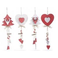 Adorno colgante Navidad en madera rojo y blanco: pino o corazón 10x29cm