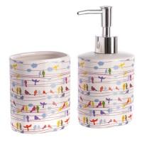 Set baño 2 piezas cerámicas blanco estampado pajaros colores: dispensador jabón y portacepillos