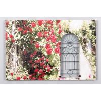 Cuadro con forja ventana con flores rosas rojas 40x60 cm