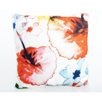 Cojin cuadrado con relleno flores colores acuarela 45x45cm