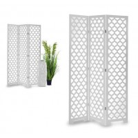 Biombo mdf blanco troquelado 3 paneles 40x4x170cm 120x1x170cm
