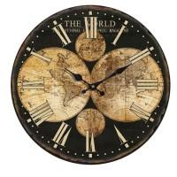 Reloj de pared mdf envejecido mapa mundi marrón 60cm