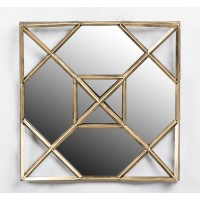 Espejo cuadrado marco metálico dorado envejecido 50x8x56cm