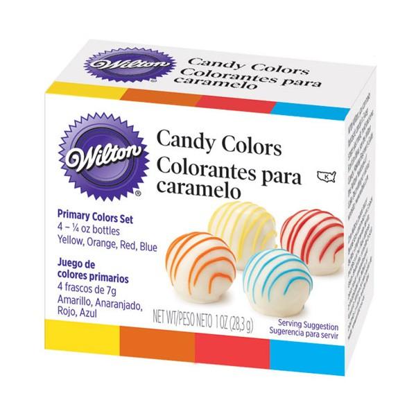 Set 4 colorantes para chocolate o caramelo Candy Colors Wilton 4x7gr