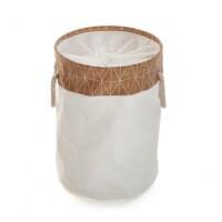 Cesto cubo redondo para ropa blanco y corcho 35x50cm