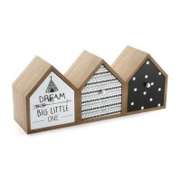 Mueble de sobremesa madera 3 cajones Casitas blanco y negro Dream Big Little One 42x12cm