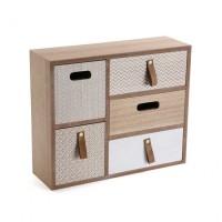 Mueble de sobremesa madera joyero 5 cajones Nórdico cintas 35x11x29,5cm
