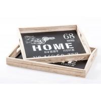 Bandeja madera base negra Home Sweet Home grande 40x30x6 cm