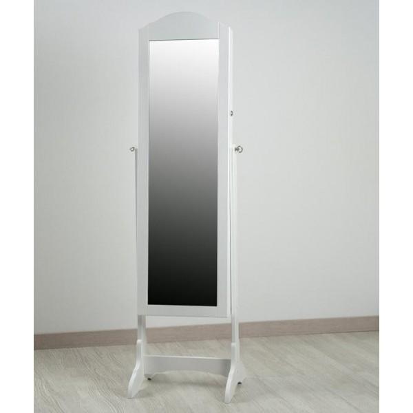 Espejo madera blanco joyero con pie 43x40x160 cm
