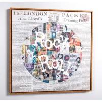 Cuadro lienzo cuadrado serigrafiado periódico Rock & Roll 70x70cm