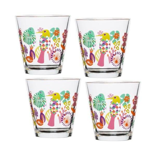 Set 4 vasos de agua cristal decorado colores Fantasy 200ml