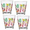 Set 4 vasos de agua cristal decorado colores Fantasy 200ml