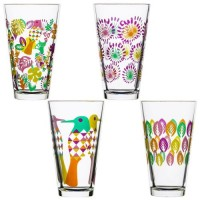Set 4 vasos para refrescos cristal decorado colores Fantasy 300ml