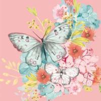 Servilletas cuadradas rosa Louise Butterfly PPD 33x33cm
