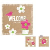 Servilletas cuadradas Welcome pajarito y flor 2 caras PPD 33x33cm