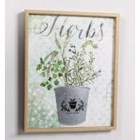 Lienzo cuadro con marco maceta metálica en relieve 40x50cm