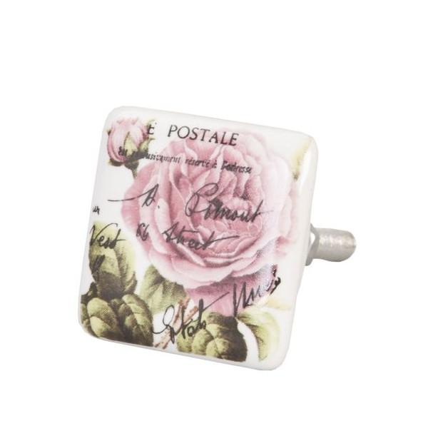 Tirador cerámico cuadrado blanco estampado flores rosas y letras 3,5 cm