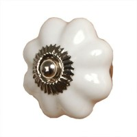 Tirador cerámico redondo blanco flor 4 cm