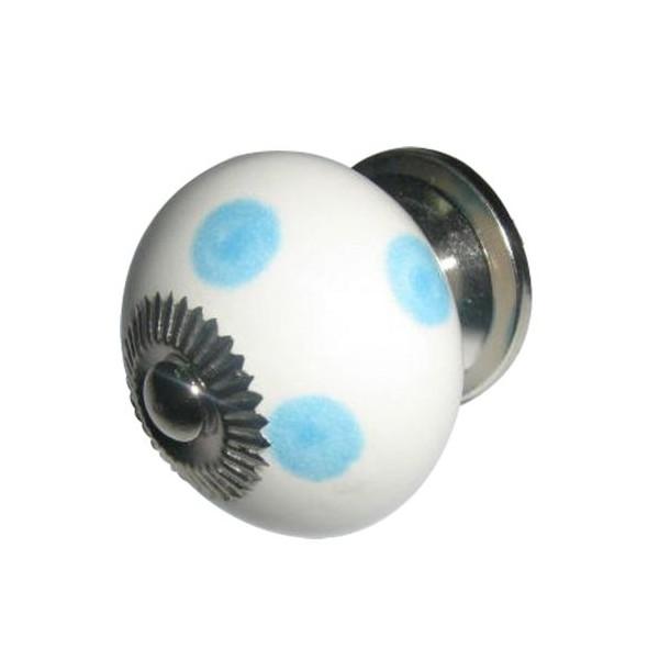 Tirador cerámico redondo blanco con topos azules 4 cm