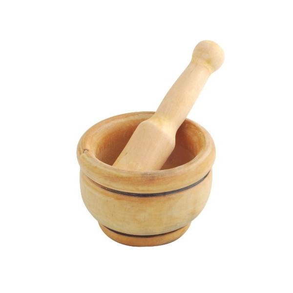 Mortero madera con maza 12 cm