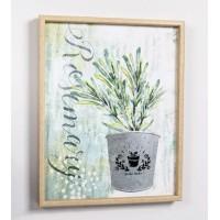 Lienzo cuadro con relieve en metálico maceta planta Rosemary 40x50cm