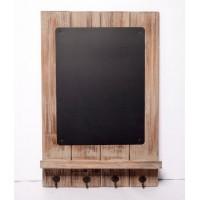 Perchero madera con 4 colgadores y pizarra 40x60cm