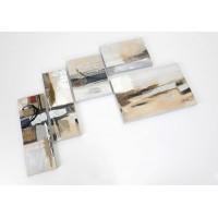 Composición 5 lienzos de imagen abstracta tonos beige 95x130h cm