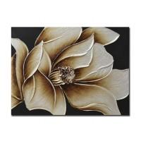 Lienzo cuadro rectangular flor dorada relieve 90x3x70 cm