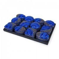 Cajita con tapa ovalada, redonda o cuadrada en azul noche con piedras 7,5x7,5x5 cm