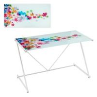 Mesa escritorio cristal templado estampado piezas puzzle colores 120x60x75cm